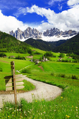 Val di Funes - beautiful Alpine valley in Dolomites mountains,no