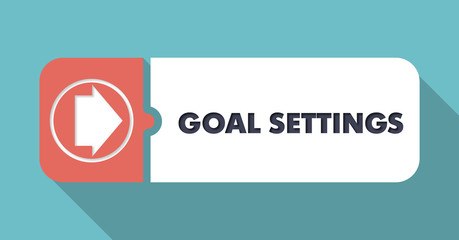 Goal Settings on Blue in Flat Design.