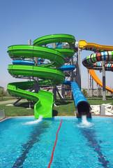 Aquapark sliders, aqua park, water park. Kirillovka, Ukraine