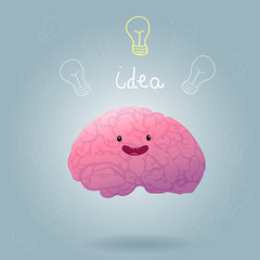 Brainstorm happy brain vector illustration