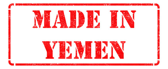 Made in Yemen - inscription on Red Rubber Stamp.