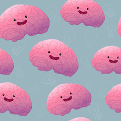 Brainstorn happy brain seamless pattern