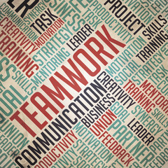 Teamwork - Red-Blue Grunge Wordcloud Concept.
