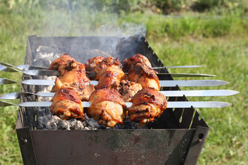 chicken grilled on skewers