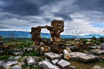 Ancient Troizina Ruins with dramatic sky, Greece