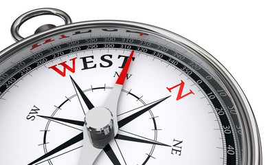 west word indicated by compass