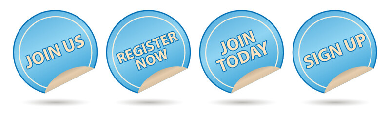 membership labels, join us, register, join today and sign up