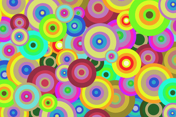 Bright abstract background of colored circles for design