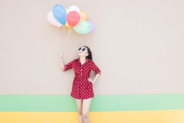 Girl With Colorful Balloons ,For Lifestyle Concept