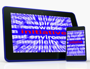 Initiative Tablet Means Motivation Leadership And Taking Action