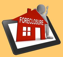 Foreclosure House Tablet Shows Repossession And Sale By Lender