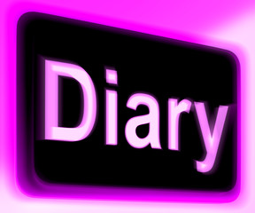 Diary Sign Shows Online Planner Or Schedule
