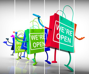 We're Open Shopping Bags Show Shopping Availability and Grand Op