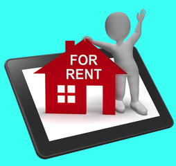 For Rent House Tablet Shows Rental Or Lease Property