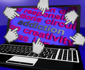 Addiction Laptop Screen Means Obsession Enslavement Or Dependenc