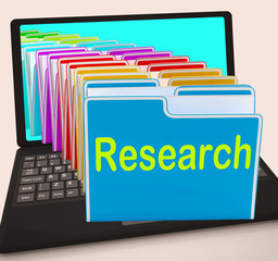 Research Folders Laptop Mean Investigation Gathering Data And An