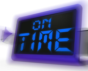 On Time Digital Clock Shows Punctual And Reliable