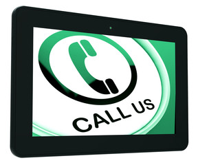 Call Us Tablet Shows Talk or Chat
