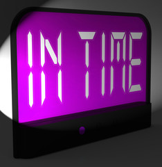 In Time Digital Clock Means Punctual Or Not Late