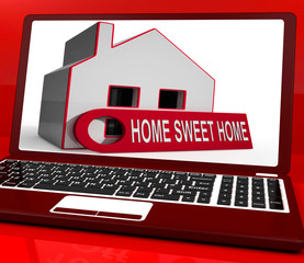 Home Sweet Home House Laptop Shows Comforts And Family