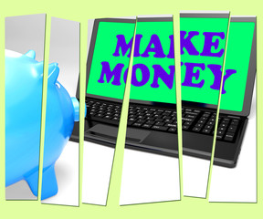 Make Money Piggy Bank Means Accumulating Wealth And Prosperity