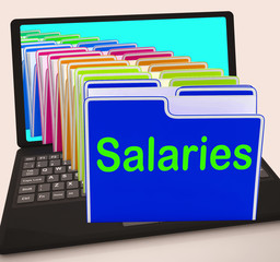 Salaries Folders Laptop Show Paying Employees And Remuneration