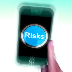 Risks On Mobile Phone Shows Investment Risks And Economy Crisis