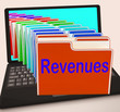Revenues Folders Laptop Mean Business Income And Earnings
