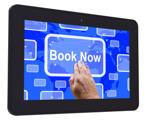 Book Now Tablet Touch Screen Shows Hotel Or Flights Reservation