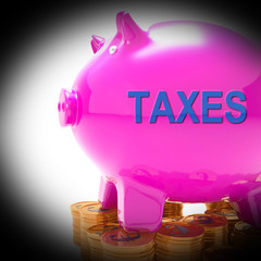 Taxes Piggy Bank Coins Means Taxed Income And Tax Rate