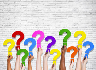 Multi-Ethnic Group of Human Hands Holding Question Marks