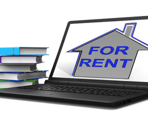 For Rent House Tablet Shows Landlord Leasing Property To Tennant