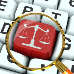 Scales Of Justice Key Magnified Means Law Trial