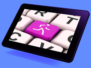 Runner Key Tablet Means Run Jog Or Aerobic Work-Out