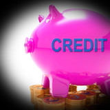 Credit Piggy Bank Coins Means Financing From Creditors poster