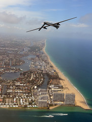 Surveillance drone over Florida coastline