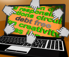 Debt Free Laptop Screen Shows Good Credit Or No Debt