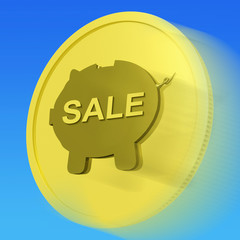 Sale Gold Coin Means Reduced Price Or Discounted Goods