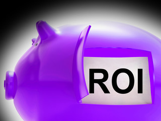 ROI Piggy Bank Coins Shows Return On Investment