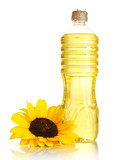 oil in bottle and sunflower, isolated on white