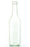 Empty colorless glass bottle, isolated. poster