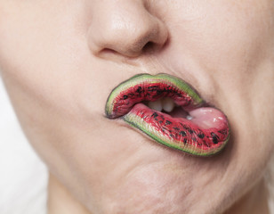 Watermelon lips grimacing