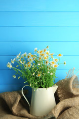 Chamomiles in jug  on color wooden background