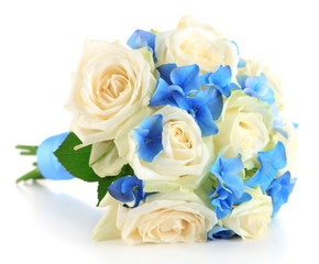 Beautiful wedding bouquet with roses, isolated on white