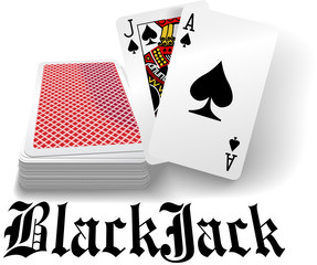 Casino black jack playing card deck