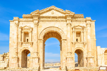 The Arch of Hadrian in the ancient Jordanian city of Gerasa