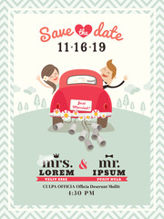 Just married car wedding invitation design