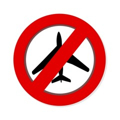 Red prohibition NO FLYING  sign on white background