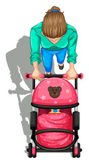 A topview of a mother and her baby inside the stroller
