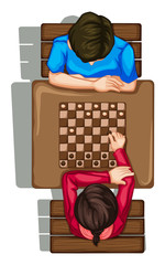 A topview of two people playing a boardgame